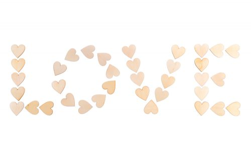 LOVE con 36 corazones de madera - LOVERSpack