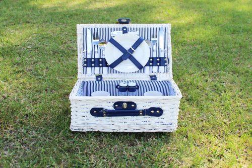 cesta picnic romántica mimbre blanca - LOVERSpack