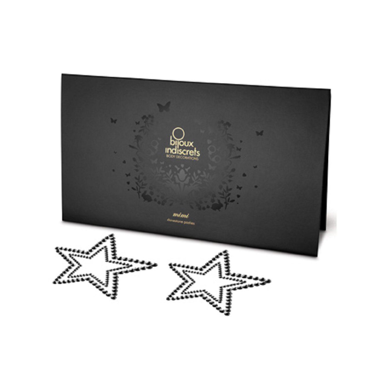 Mimi Cubre Pezones Sexys Estrellas Piedras Negras /Mimi Star Rhinestone Pasties de Bijoux Indiscret - LOVERSpack