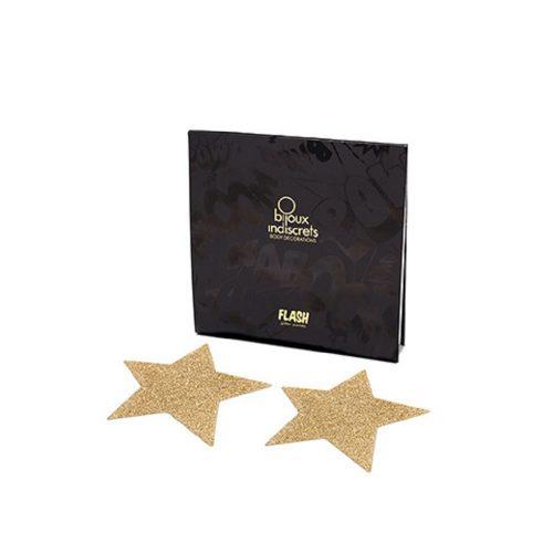 Cubre Pezones Sexys Estrellas Oro Glitter - Flash Star Glitter Pasties de Bijoux Indiscret - LOVERSpack