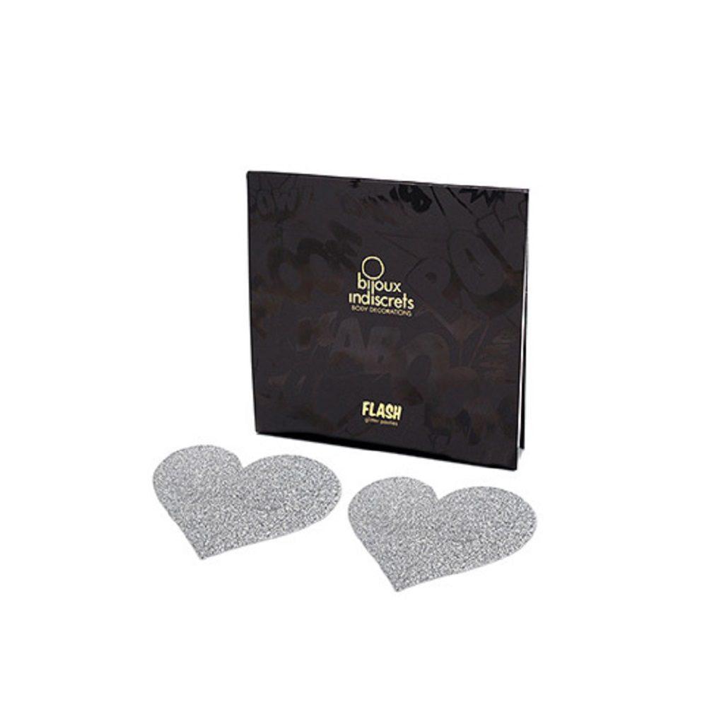 Cubre Pezones Sexys Corazones Plata Glitter/ Flash Heart Glitter Pasties - Bijoux Indiscrets - LOVERSpack