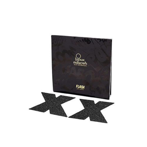 Cubre Pezones Sexys Cruz Negra Glitter / Flash Cross Glitter Pasties de Bijoux Indiscret - LOVERSpack
