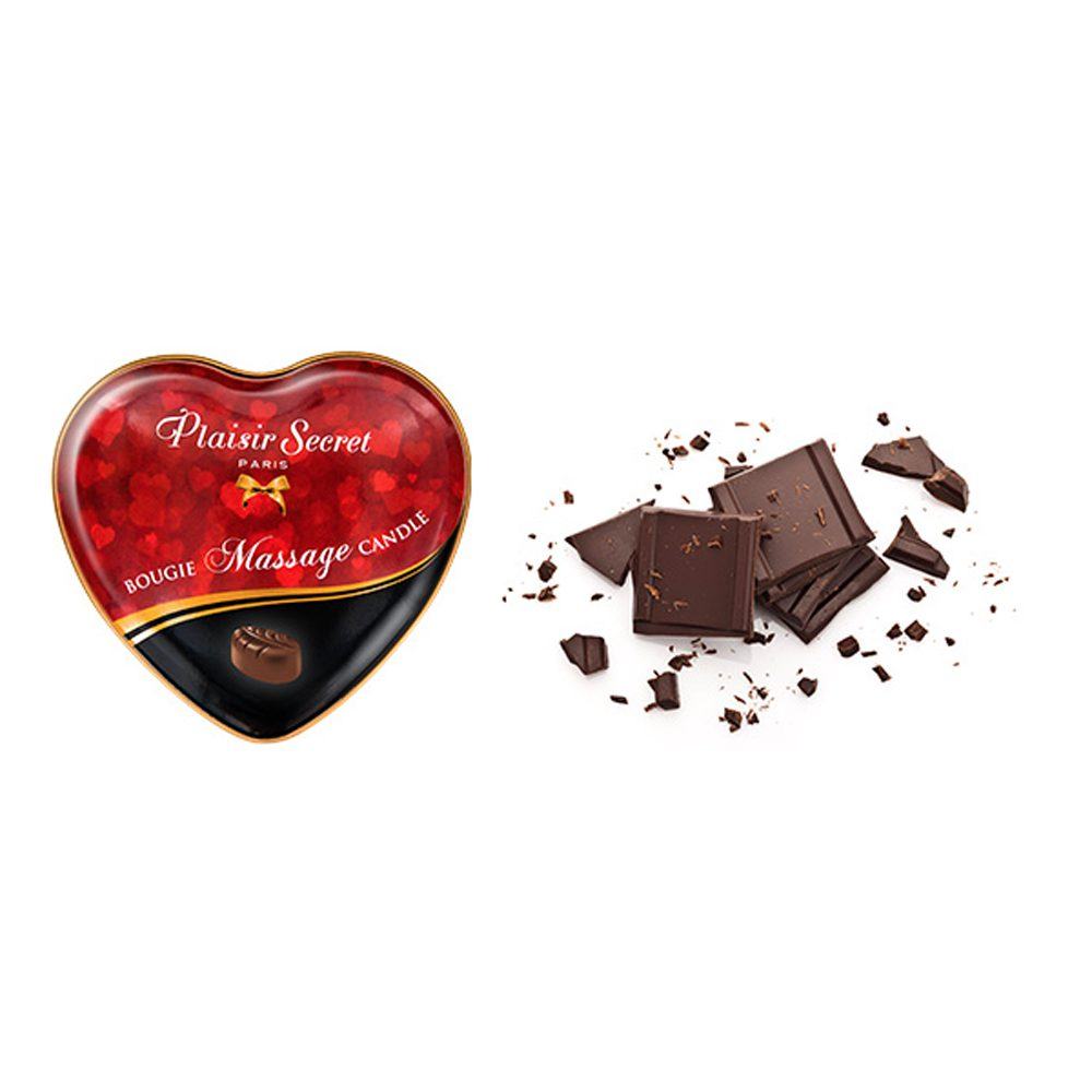 VELA MASAJE CORAZÓN AROMA CHOCOLATE - PLAISIR SECRET PARIS - LOVERSpack