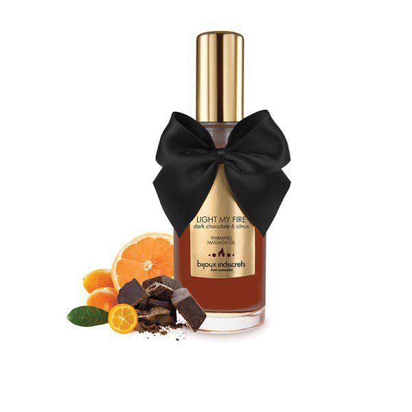 Aceite de Masaje Efecto Calor de Chocolate Negro y Cítricos 100 ml. de Bijoux Indiscrets -LOVERSpack