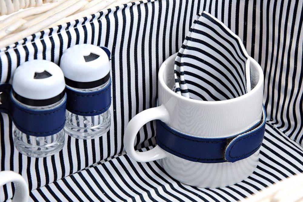 Cesta Picnic Romántico Mimbre Blanca y Rayas Azules Completa con Vajilla de Porcelana, Cuberteria y Copas para 2 Personas Cesta de Mimbre de Picnic Cesta de Mimbre de Madera Blanca -LOVERSpack