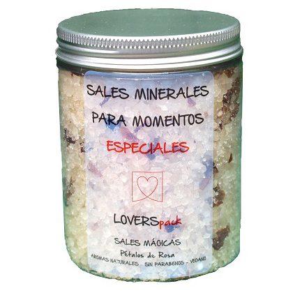Sales de Baño Mágicas con Pétalos de Rosa Cosmética Natural Cruelty Free 350 ml. Sales Minerales para Momentos Especiales by LOVERSpack
