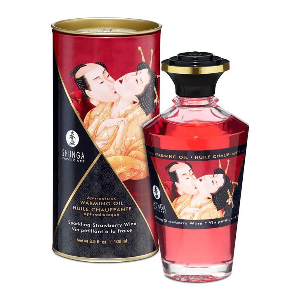 Shunga Aceite de Masaje Efecto Calor Aroma Vino Espumoso de Fresa