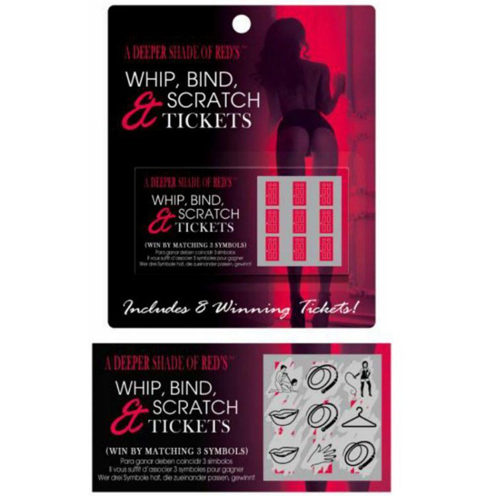 El Whip, Bind and Scratch es juego sexual BDSM en el que hay 8 tickets y si rascas y coinciden los 3 simbolos, ganas y eliges como interpretar y llevar a cabo los símbolos.