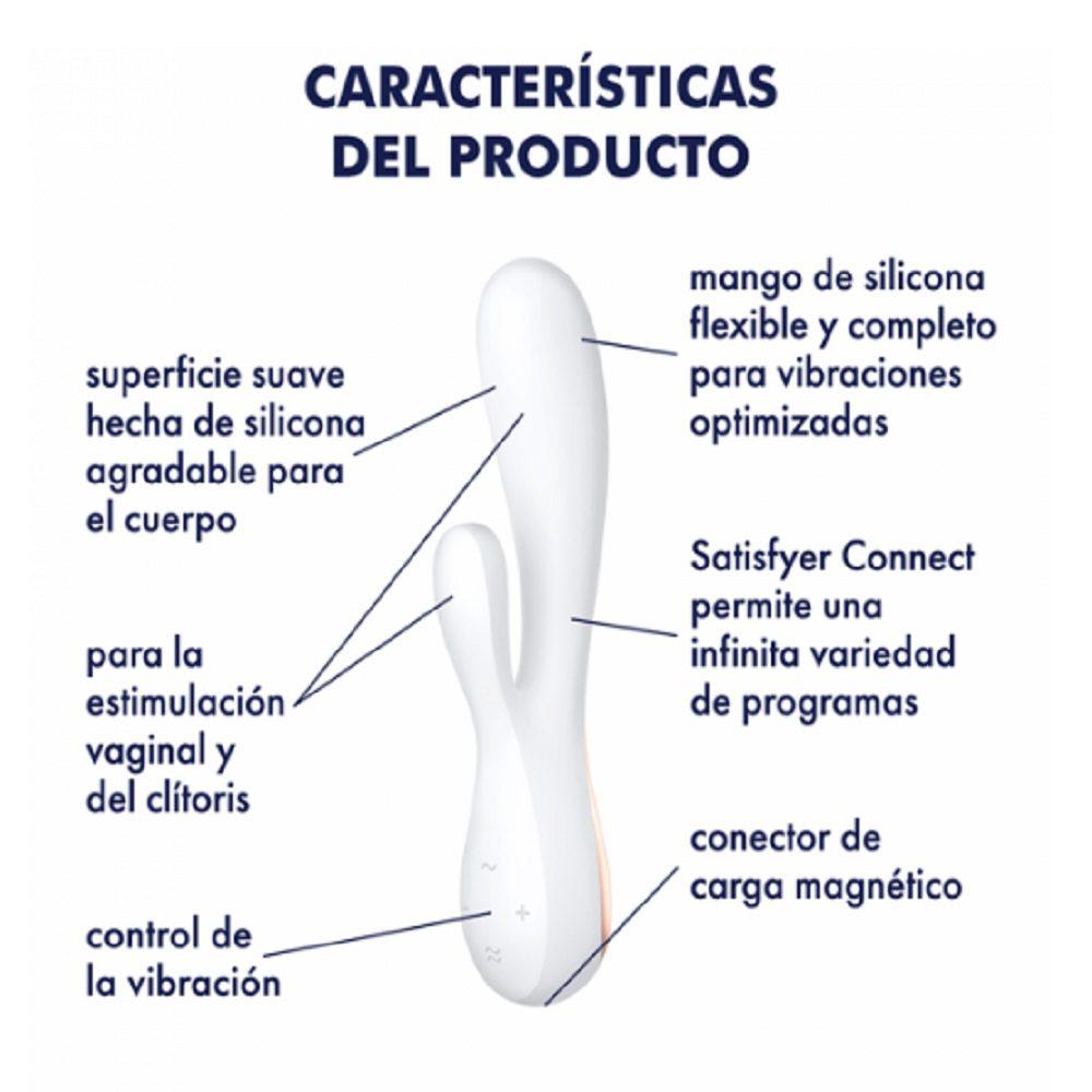 Vibrador conejo para mujer Satisfyer Mono Flex Blanco - LOVERSpack